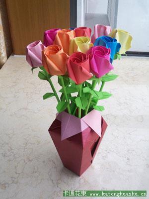 手工折纸作品欣赏之玫瑰花